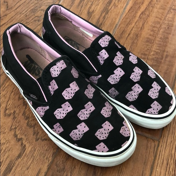 Vans Shoes - Pink Dice Slip On Vans